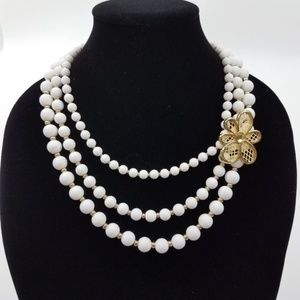 ~ Necklace Floral Multi Strand White Beaded Gold T